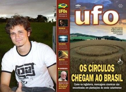 Daniel Gevaerd  e a revista do pai da qual ele é web designer