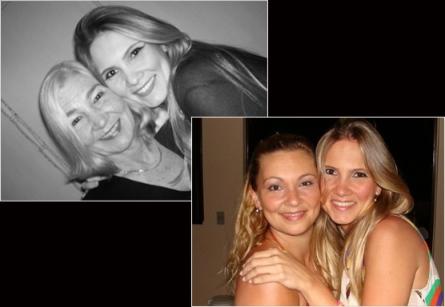 Josiane com a mãe Tulica, no alto à esquerda, e com a irmã, Geane